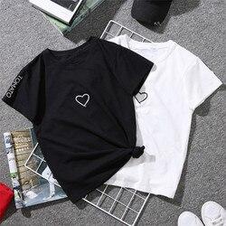 Красивая летняя женская хлопковая Футболка с вышивкой в виде сердца Harajuku, черная белая футболка с коротким рукавом