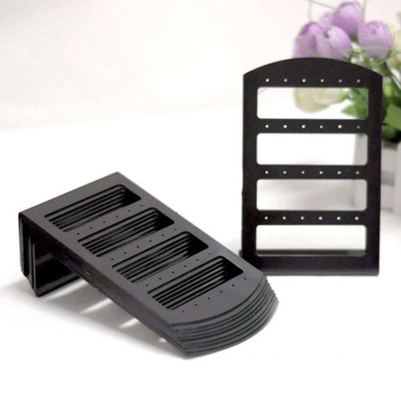 24/48 Handy Plastic Ear-Hook Frame Earring Holder Fashion Earrings Display Rack 48 Holes Jewelry Organizer Stand Black Plastic