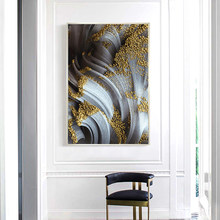 Abstract Golden Foil and Gray Canvas Paintings Nordic Wall Art Picture For Living Room Home Decoration Modern Posters And Prints(China)