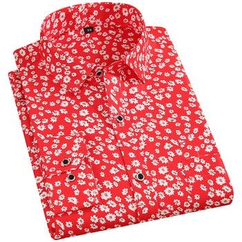 Men's Floral Print Shirts Long Sleeve Fashion Flower Printing Casual Shirts 100% Polyester Soft Comfortable Men Dress Shirt 1