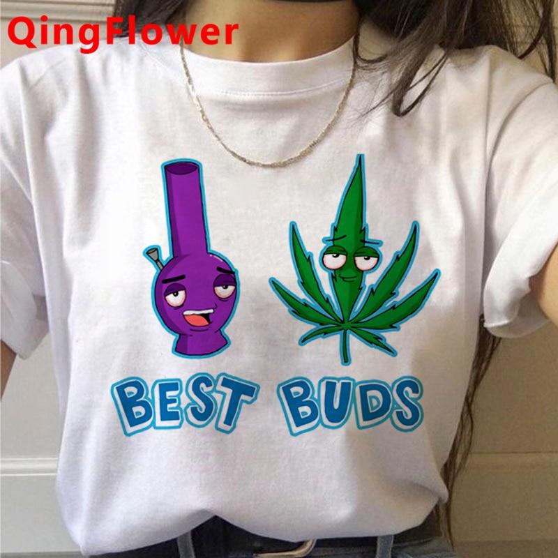 Bong Weed tshirt clothes women print harajuku streetwear clothes harajuku kawaii white t shirt 4