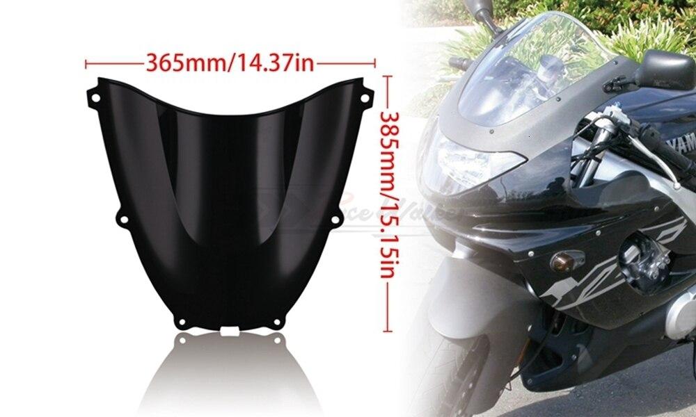 Motorbike Double Bubble WindScreen Windshield Wind Deflectors Motorcycle Fit For Yamaha YZF600R Thundercat 1996-2007 Black