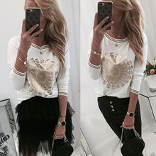 Womens New Ladies Fashion Gold Print Long Sleeve Crew Neck Casual Slim Fit White