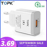TOPK B126Q 18W Charge rapide 3.0 chargeur rapide de téléphone portable prise EU adaptateur de chargeur USB mural pour iPhone Samsung Xiaomi Huawei