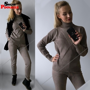 Image 3 - Women sweater suit and sets Casual Autumn Winter 2PCS Track Suit Casual female Knitted Trousers+Jumper Tops Costume Clothing Set