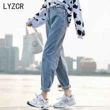 Women's Jeans Boyfirends Pencil-Pants Button Harem Loose Vintage Denim Woman Autumn LYZCR