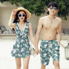 Swimwear Women Swimsuits Bikinis Couple Surf-Shorts Beach Print Quick-Dry Lovers