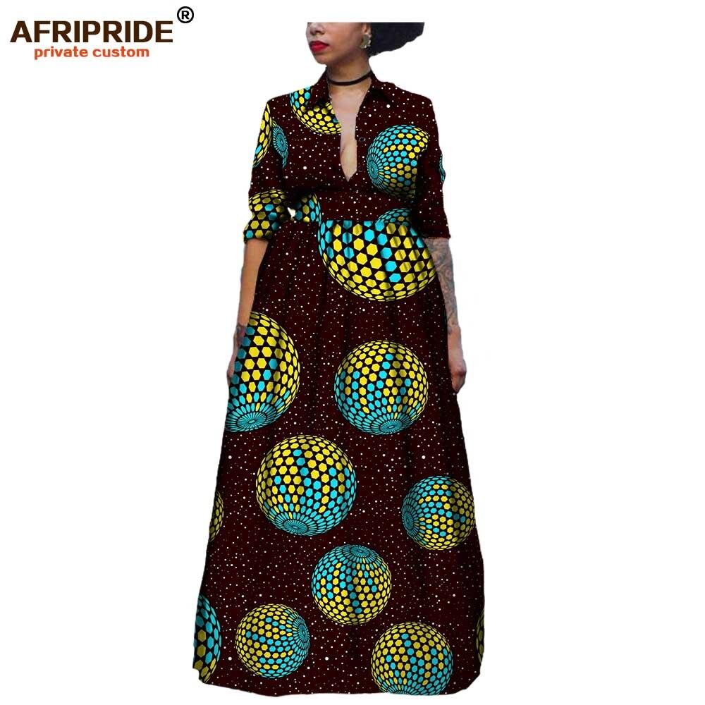 19 秋アフリカロングマキシドレス、女性の半分袖足首までの長さノッチ襟パーティードレスプリントアンカラ AFRIPRIDEA1825075  グループ上の レディース衣服 からの ドレス の中 1