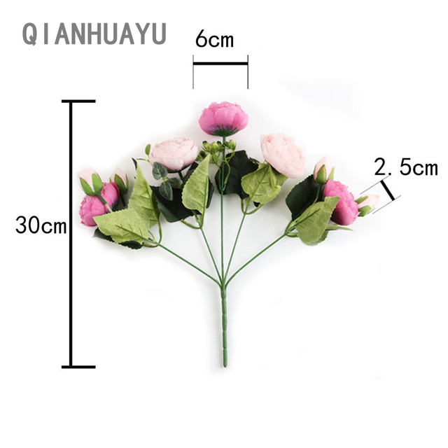 1pcs 30cm Rose Pink Silk Peony Artificial Flowers Bouquet For Valentines Day Gifts DIY Home Wedding Party Decoration Fake Flower 5