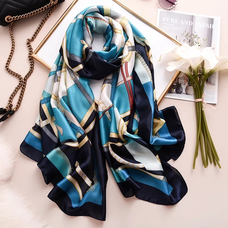green blue Chic Foulard brown Ladies chiffon type square scarves