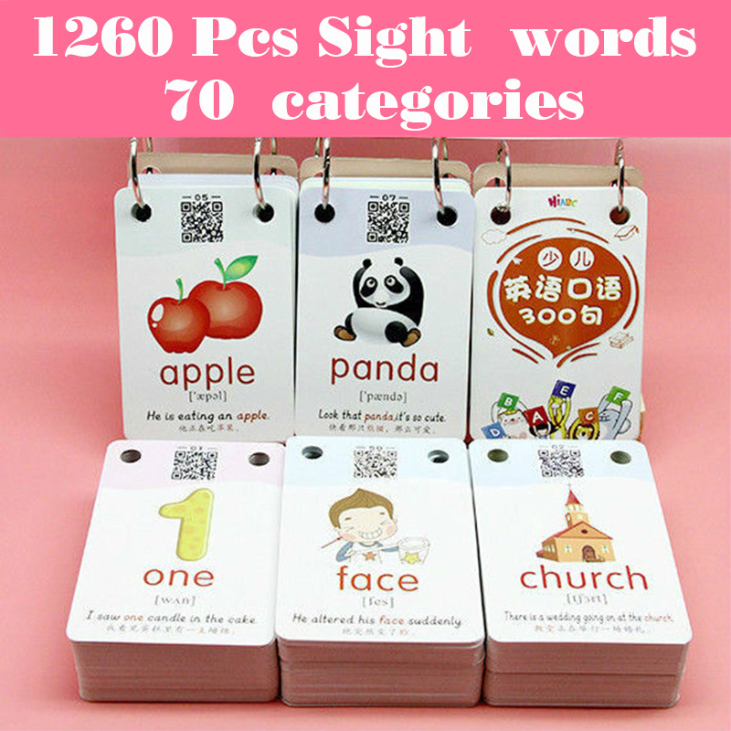 1260 Words Early Learning Picture Card Chinese English Flashcards Word Card Kids Games Educational Toys for Children Montessori|  - title=