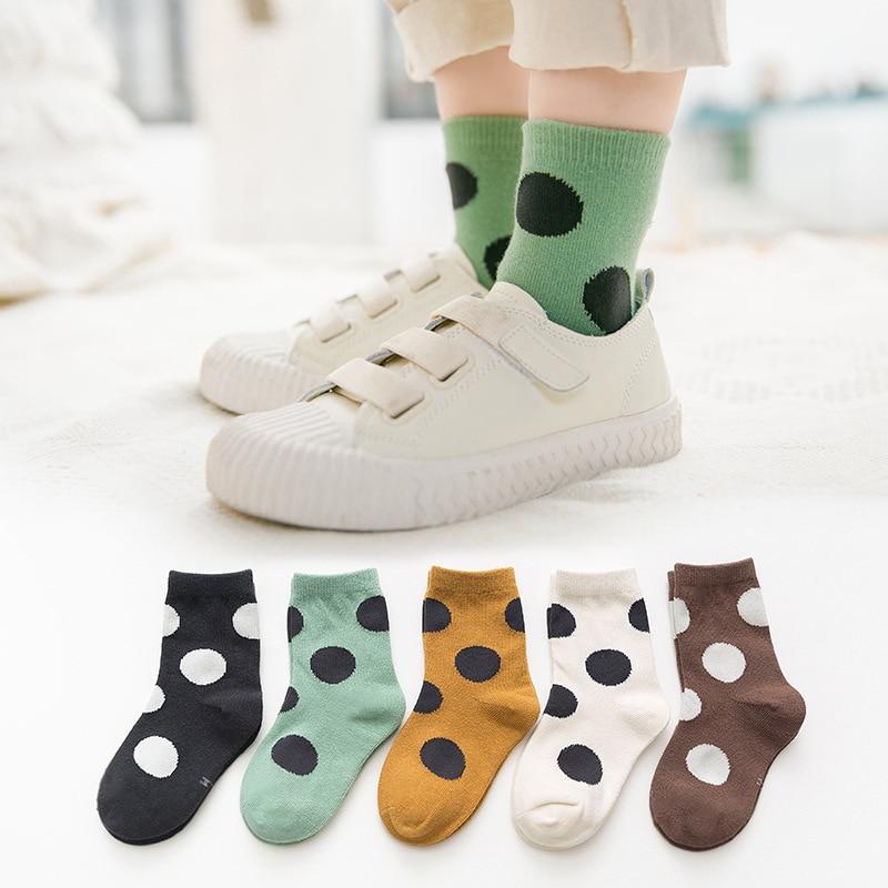 5-Pair Pack Boy Socks Cotton Socks Girl's Socks Autumn and Winter Big Polka Dot Color Matching Socks Children's Cotton Socks 1