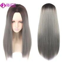 Aiyee26 ''длинные волосы парик средней точки тепла синтетический парик косплей устойчивый черный фиолетовый зеленый цвета волна парик Омбре синтетический парик