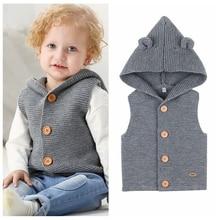 Осенне-зимняя трикотажная одежда без рукавов, одежда для малышей, жилет для новорожденных мальчиков и девочек, свитер