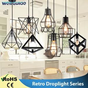 Modern Pendant Light Black Iron Hanging Cage Vintage Led Lamp Bulb E27 Dining Room Restaurant Bar Counter Industrial Loft Retro