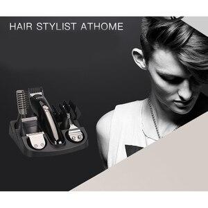 Image 2 - Kemei 6 w 1 elektryczna maszynka do strzyżenia włosów golenie maszyna trymer do brody maszynka do włosów ucho nos maszynka do włosów urządzenie do czyszczenia twarzy człowieka narzędzia fryzjerskie