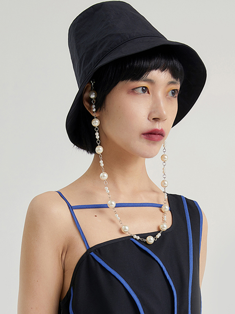 Split-Joint Fashion EAM Fishermen Hat Spring Round Black Summer Women New Dome