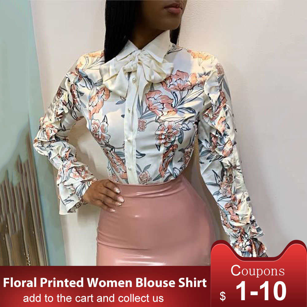African Women Blouse Irregular Flowers Print Fashion Blouse Long Sleeve Turn-Down Collar Bow Single-Breasted Sweet Women Shirt