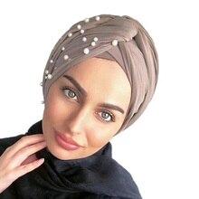 חדש מוסלמי נשים ואגלי פנינת טורבן כובע סרטן שווי ראש גלישת כותנה טוויסט הכימותרפיה כובע כפה חיג אב Caps בארה ב