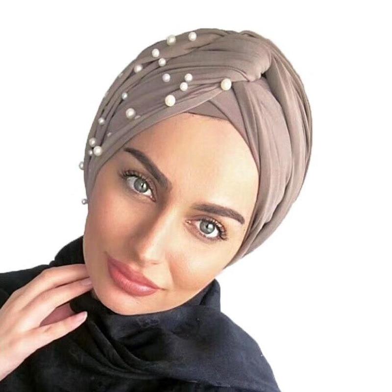 New Muslim Women Pearl Beading Elastic Turban Hat Cancer Cap Head Wrap Cotton Twist Chemo Cap Beanie Hijab Caps Headwear