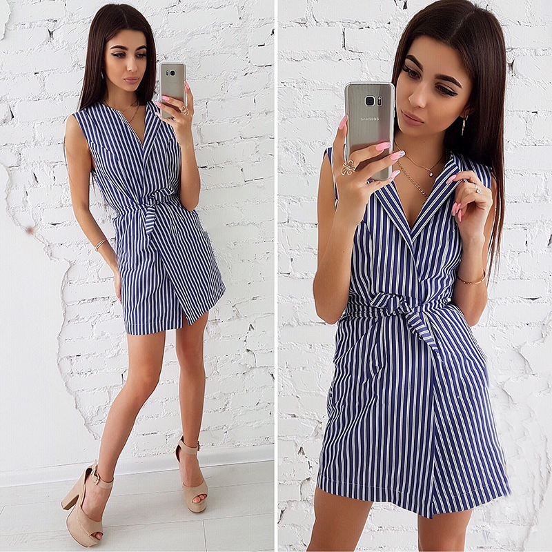 2019 Summer New Ladies Stripe Print Dresses Casual V-Neck Sleeveless Loose Dress Office Wear Women's Clothing Female Vestidos