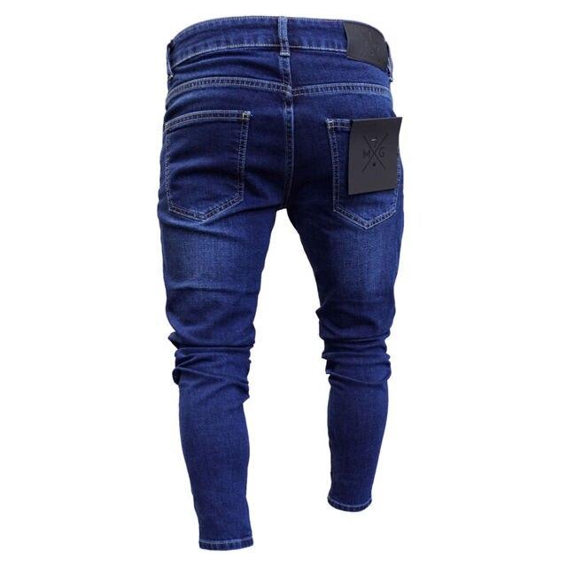 Pantalones vaqueros rasgados para hombre, deshilachados, ajustados, deshilachados, 2019 4