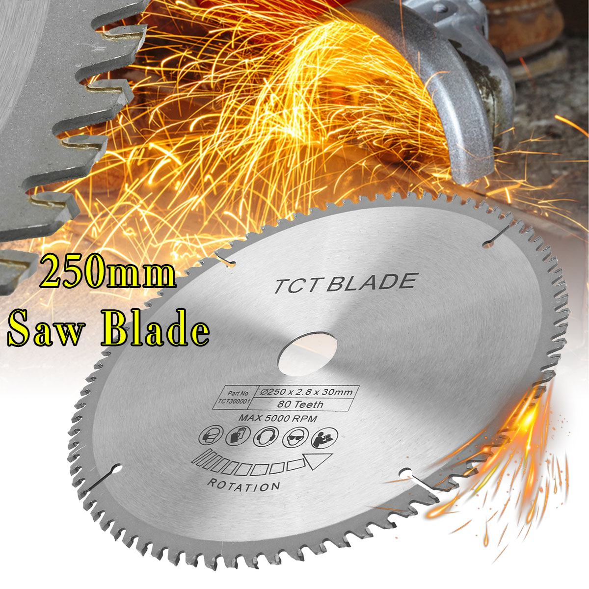 250mm 80 Teeth Circular Saw Blade High-speed Steel With 3pcs Reduction Rings Fits For Bosch, Makita, Festool & Others Brand