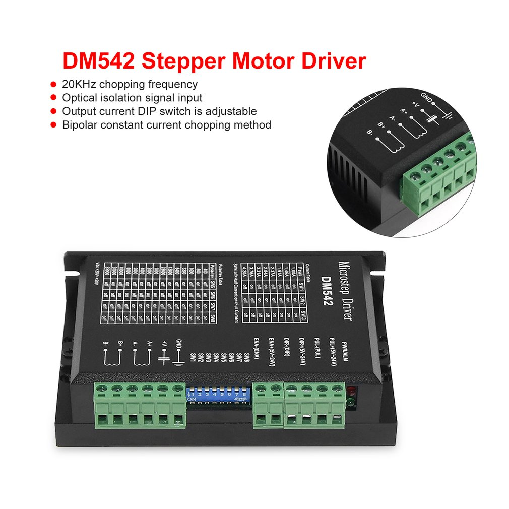 DM542 Stepper Motor Driver Controller For 57 86 Series 2-phase Digital Stepper Motor Driver DC 24-60 V 4.5A Durable
