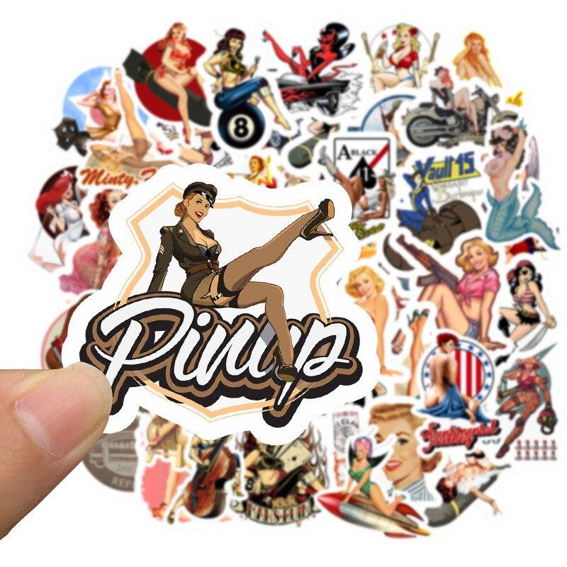 50pcs Europe And America Retro Girl Pin Up Girl Sticker Decoration Stationery Sticker DIY Ablum Diary Scrapbooking Label Sticker