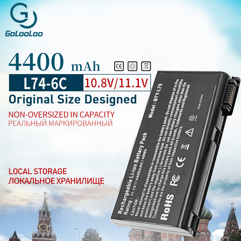 6Cell 4400mAh Laptop Battery For MSI BTY-L74 BTY-L75 A5000 A6000 A6203 A6205 A7200 CR600 CR610 CR610X CR620 CR630 CR700 CX600