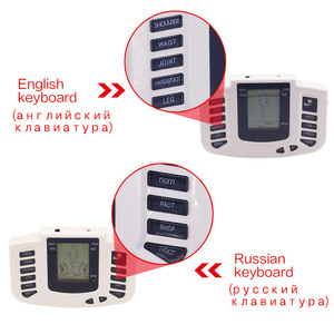 Image 3 - Russian/English Electrical Muscle Relax Stimulator Therapy Massager 16 Pads Pulse Tens Acupuncture Pain Relief Glove Sock Bracer
