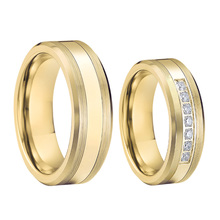 Wedding-Rings Ring-Band Alliance Stainless-Steel Jewelry Couple Gold-Plated Custom Women