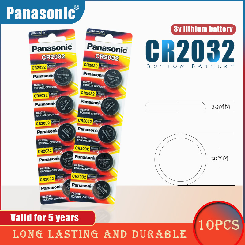10PCS/lot PANASONIC Original CR2032 Button Cell Battery 3V Lithium Batteries CR 2032 for Watch Toys Computer Calculator Control(China)