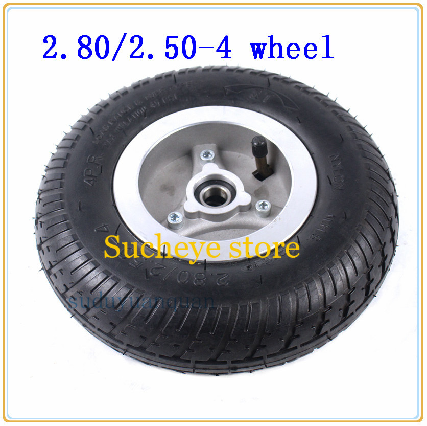 <font><b>2.80/2.50</b></font>-<font><b>4</b></font> wheel 2.50-<font><b>4</b></font> tire 4inch hub rims with tyre inner tube for Baby carriage,Elderly Mobility scooter,3wheel standing car image