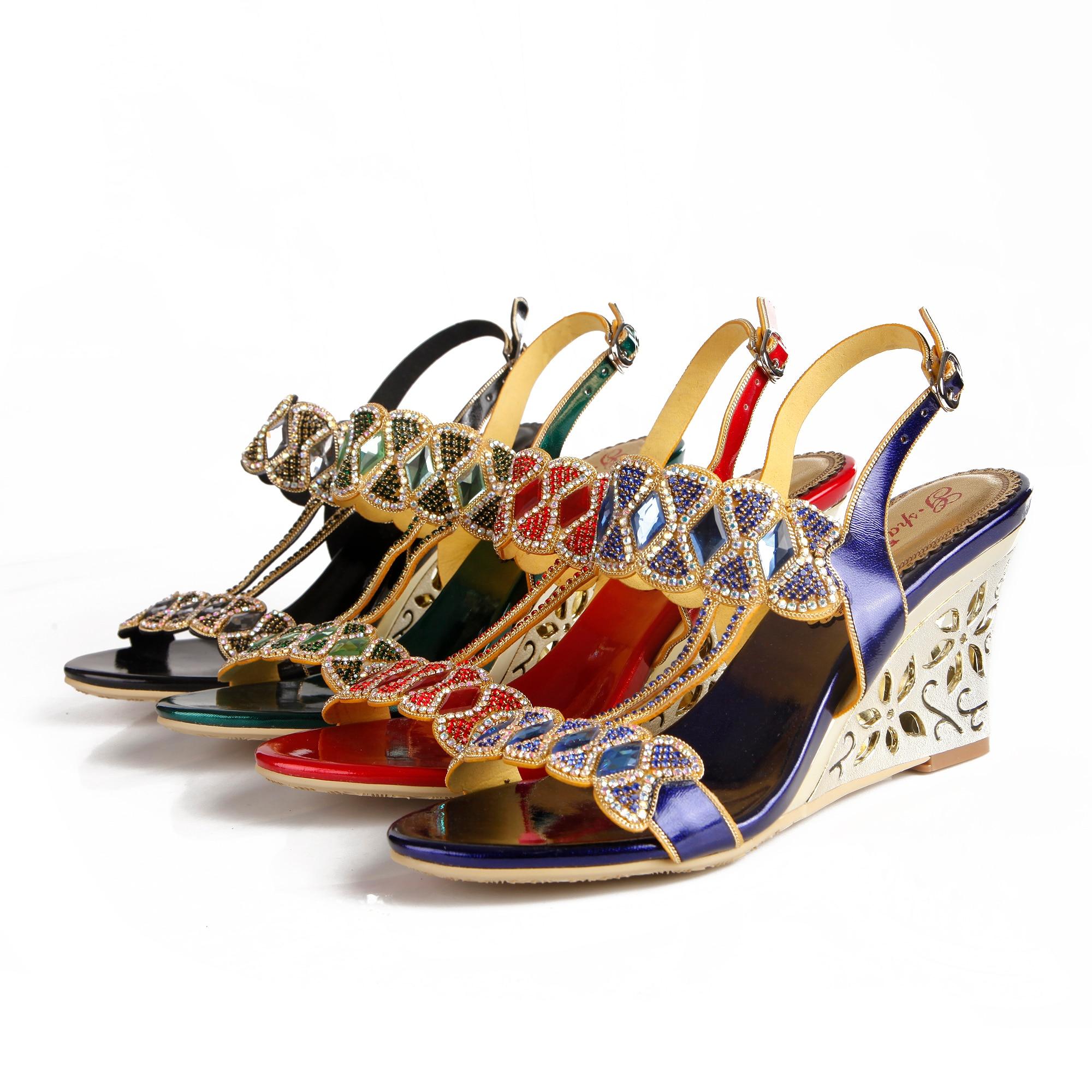 Christia Bella robe formelle talons hauts sandales talons compensés boucle strass chaussures bout ouvert fête chaussures de mode pour dames