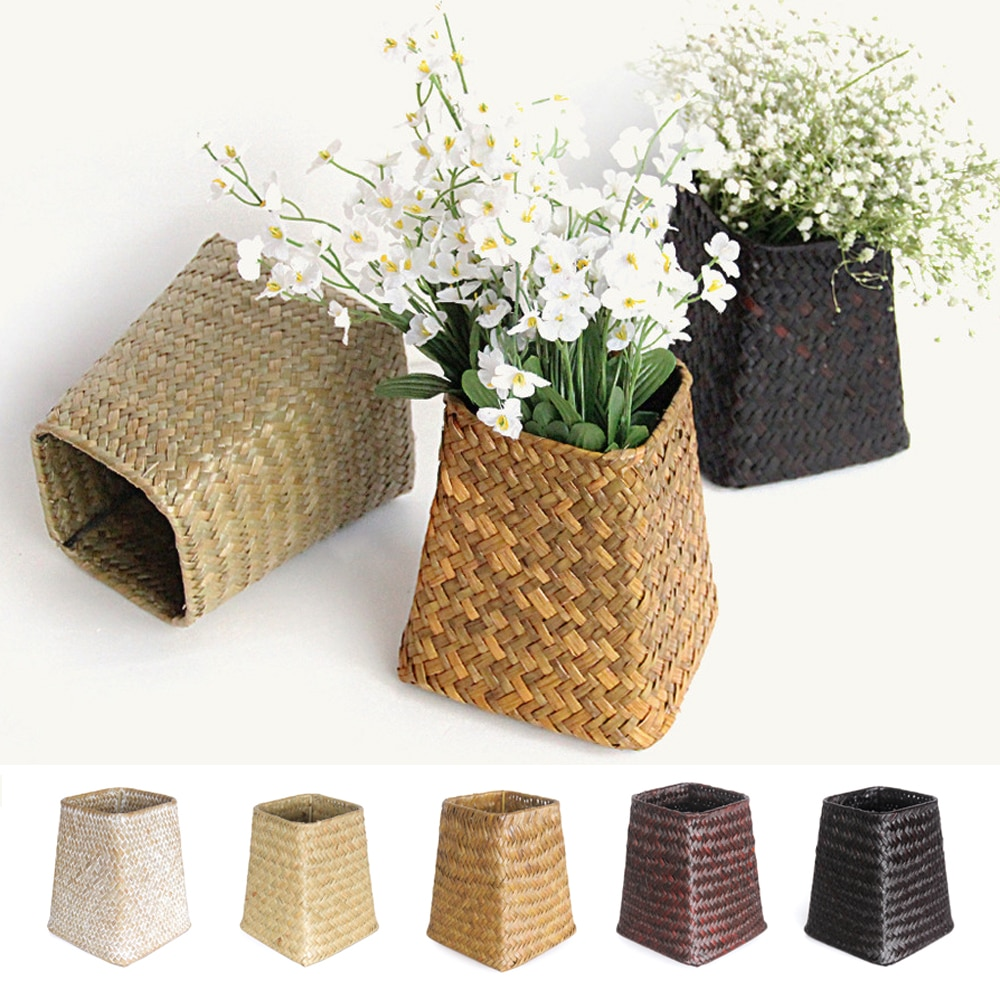 Handmade Bamboo Storage Baskets Seagrass Wicker Square Basket Garden Flower Pot Laundry Basket Container Toy Holder