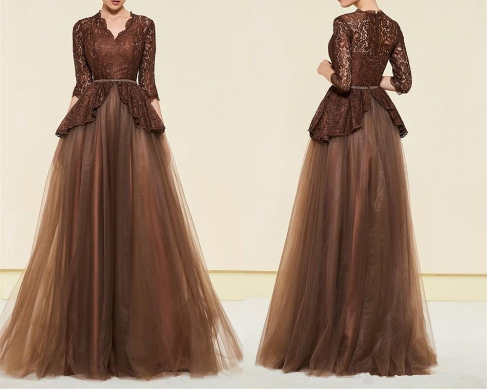Sexy Brown Vestido De Madrinha 2019 Plus Size Mother Of The Bride Dresses 3/4 Long Sleeves Lace Tulle Mothers Evening Dress