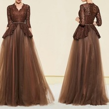 Sexy Brown vestido de madrinha 2019 Plus size Mother of the Bride