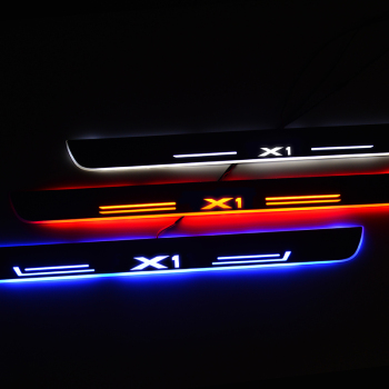 12v Streamed Light LED Door Sill For BMW X1 E84 F48 2009 - 2020 Scuff Plate Acrylic Door Sills Car Sticker Accessories led door sill for mazda 6 skyactiv 2013 2019 streamed light scuff plate acrylic battery car door sills accessories