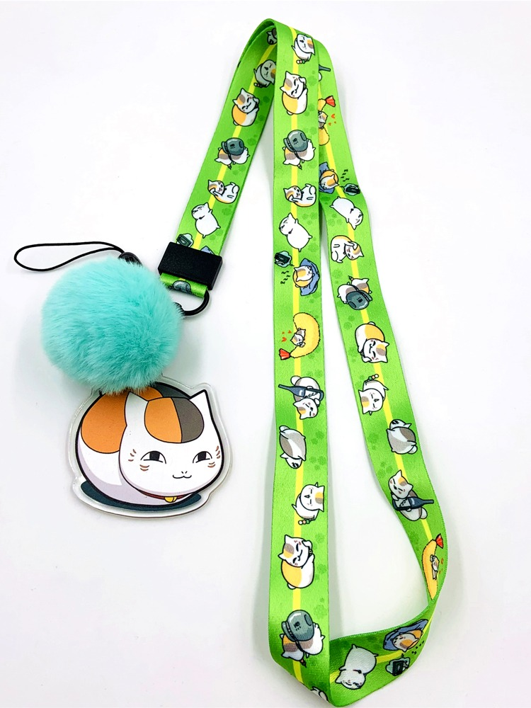 Natsume Yuujinchou Nyanko Sensei Cat Teacher Plush Lanyard Green Neck Strap