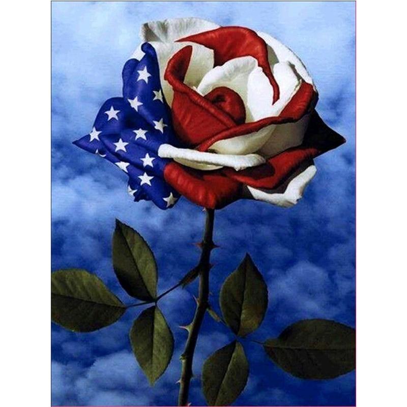 Diy 5D Diamond Embroidery Flag Rose Painting Cross Stitch Kit Craft Home Decor