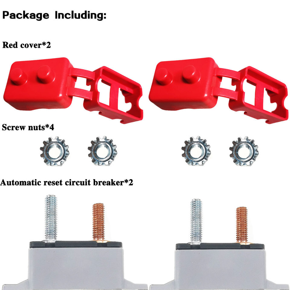 24V Automatic Reset Circuit Breaker Fuse Stud Bolt 10 Amp Type 1 with Cover Stud Bolt for Automotive and More 2Pcs DC 12V