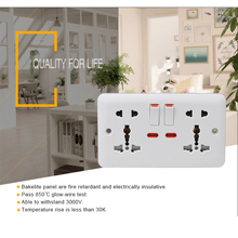 Cognag  2 Gang Home Wall Adapter Socket Dual Universal 5 Hole Switched Outlet With Neon Plate Panel mvava 15a switched wall decorative socket south africa standard plug 3 round pin receptacle with 1 gang panel free shipping