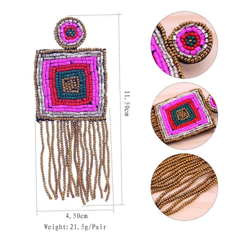 New Design Handmade Fringed Tassel Earrings for Women Bohemian Jewelry Gifts Wedding Glass Eyes Drop Earring Party (2)