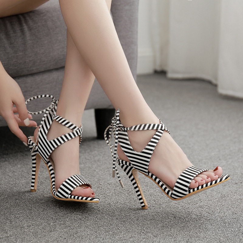 Striped Sandals Ankle-Strap Thin-Heels Ladies Shoes Classics Peep-Toe Women Fashion Super-High