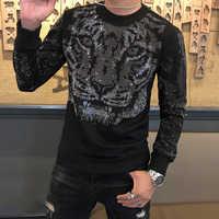 Tiger Kopf Strass Sweatshirt Hoodie Männer Marke Casual Streetwear Sudadera Hombre Hip Hop Hohe Qualität Unisex Stil Sweatshirt
