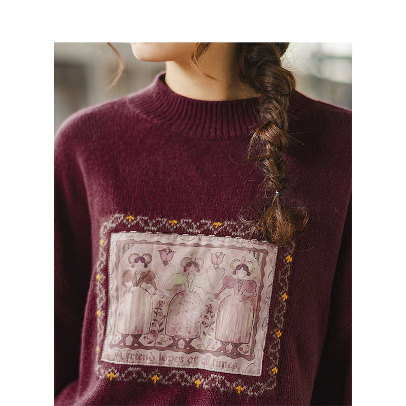 INMAN зима 2019 Новое поступление женский пуловер свободного кроя с круглым вырезом и вышивкой