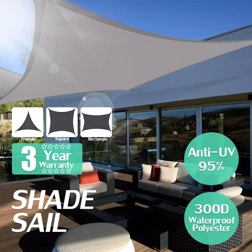 Waterproof Oxford Gray Square Rectangle Shade Sail Garden Terrace Canopy Swimming Sun Shade Outdoor Camping Yard Sail Awnings(China)
