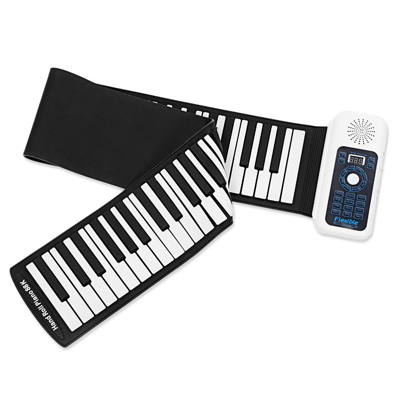 Portable Silicone+plastic 88 Keys Hand Roll Up Electronic Piano Keyboard With MIDI Learning Learning Toy Music Toy Musical Instr