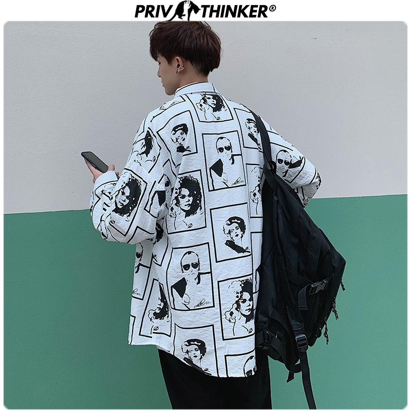 Privathinker Men Spring 2020 Printing Hip Hop Shirt Mens Fashion Streetwear Causal Shirts Male Long Sleeve Plus Size Clothes Top
